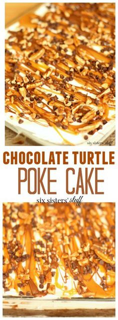 Chocolate Turtle Poke Cake on SixSistersStuff.com | Any chocolate lover will devour this amazing sweet and salty cake, and chocolate haters, this might just change your mind.