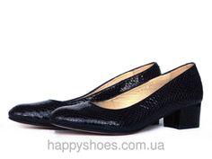 """Туфли на широком каблуке с закругленными носками из фактурной темно-синей кожи: продажа, цена в Запорожье. туфли женские от """"HappyShoes"""" - 259855502"""