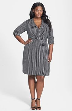 Calvin Klein Roll Sleeve Wrap Dress (Plus Size) available at #Nordstrom