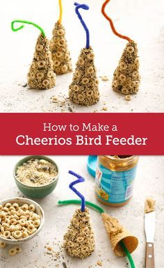 Nature Crafts Welcome your feathered friends back from the south with these adorable DIY bird feeders, made with pantry staples including peanut butter and Cheerios. Ready in just three simple steps! Summer Crafts, Fun Crafts, Arts And Crafts, Simple Crafts, Kids Outdoor Crafts, Garden Crafts For Kids, Beach Crafts, Bird Feeder Craft, Pinecone Bird Feeders