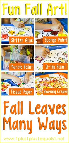 Fall Leaves Many Ways ~ fun fall art with free leaf printables too!