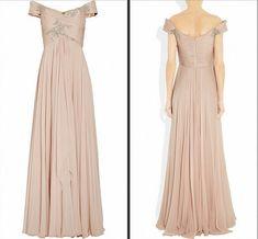 V Neck Sleeveless Nude Pink Long Chiffon Dress