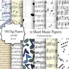 SALE Sheet Music Digital Paper Sheet Music Paper by VMDigiPapers