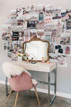 Cute Bedroom Decor, Room Design Bedroom, Room Ideas Bedroom, Room Wall Decor, Paris Room Decor, Paris Rooms, Wall Collage Decor, Bedroom Wall Collage, Collage Ideas