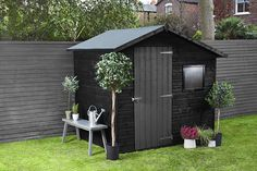 Our Fence Life Plus is no normal fence treatment, it can be used on fences and sheds and is designed to endure rain, snow and frost and keep colour for 5 years. Shed Landscaping, Backyard Sheds, Back Garden Design, Fence Design, Grey Fence Paint, Black Garden Fence, Gardens, Home, Garden Cottage