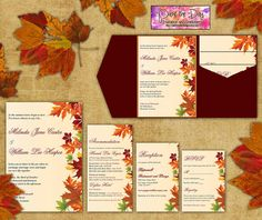 DIY Wedding Pocketfold Template - Autumn Leaves Red Orange Green Cream Fall Wedding Pocketfold | Invitation, RSVP, Accommodation, Reception by PaintTheDayDesigns, $40.00
