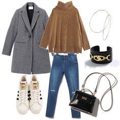 チェスターコート×スニーカー。 stylist:marico white sneaker denim grey coat brown knit black bag ponte fashion outfits coordinate