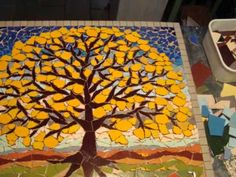 Video of the stages of making a mosaic tree