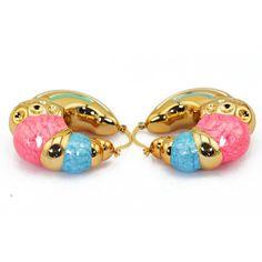 Novelty Enamel Glaze Gold Plated Big Hoop Earrings Women Wedding Jewelry Set