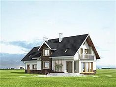 Elewacja lewa projektu Heliodor - murowana – beton komórkowy Cottage House Plans, Cottage Homes, House Outside Design, Dream House Exterior, Minimalist Home, Home Fashion, How To Plan, Mansions, House Styles