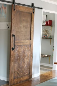 DIY Herringbone Barn Door - Bower Power Blog
