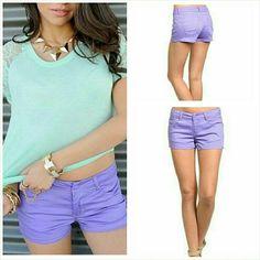 "Selling this Purple cotton twill jean shorts Size Medium 30"" in my Poshmark closet! My username is: jilld731. #shopmycloset #poshmark #fashion #shopping #style #forsale #Jill Marie Boutique #Pants"