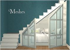 •Sims 3 furniture ~I love stuff under the stairs like this~