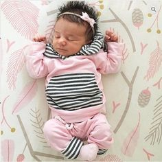 Baby Girls Pink with Stripes  Long Sleeve Hoodie Top and Pants Outfit Set