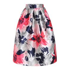 SheIn(sheinside) With Zipper Floral Print Flare Skirt ($24) ❤ liked on Polyvore featuring skirts, multi, long flared skirts, floral circle skirt, floral skater skirt, floral print maxi skirt and long maxi skirts