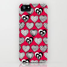 Funny Hearts iPhone & iPod Case by patterndesign - $35.00