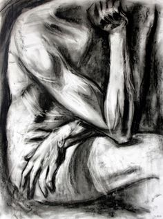 Laura Converse, Surreal Artist: Charcoal Figure Sketch: The Thinker