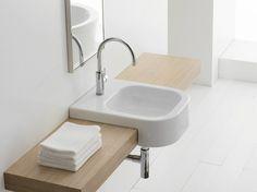 Semi-inset rectangular ceramic washbasin NEXT 40D by Scarabeo Ceramiche design Giovanni Calisti