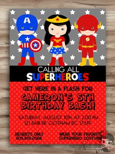 SUPERHEROES Birthday Invitation SUPERHEROS Invite by SewKawaiiKids, $10.00