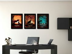 Jura-Plakat-set, Jurassic Welt, Jurassic Park, Film Kunst, Triptychon Kunst set, Dinosaurier, Haus & Wohnen, Poster-Set, Trio Plakat, Geschenk