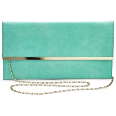 Mint Clutch Bag ($23) ❤ liked on Polyvore featuring bags, handbags, clutches, blue purse, envelope clutch, envelope clutch bag, mint green purse and blue handbags