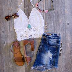 Janis Crochet Top - White