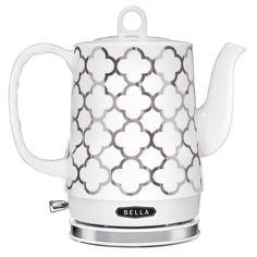 BELLA 1.2L Electric Ceramic Tea Kettle Spanish Tile Turquoise Teal Aqua White