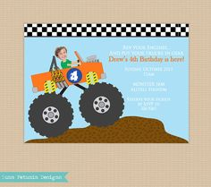 Monster Truck . Your Kid Driving . Birthday by LunaPetuniaDesigns, $14.00