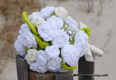 Bridal Bouquet- DIY your wedding with crocheted accessories.  This bouquet and many other free bridal patterns can be found here.