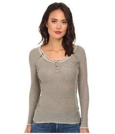 NEW Free People Rag Tag Fitted Green Henley Thermal Sweater Top Women's Small  #FreePeople #KnitTop