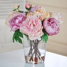 Shop Jane Seymour Botanicals  JSPP46403N-MI Multicolor Peonies in Glass Vase at ATG Stores. Browse our silk flowers, all with free shipping and best price guaranteed.