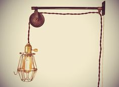 Vintage Industrial Pulley Sconce - Wall Mount Cage Lamp, Pendant Light - Machine Age Trouble Lamp on Etsy, Vintage Industrial Decor, Vintage Lighting, Industrial Style, French Industrial, Chandelier Lamp, Pendant Lamp, Chandeliers, Polaroid, Pulley Light