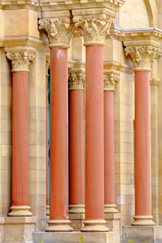 Pillars and columns adorning the entrance doors of Finney Chapel on the campus of Oberlin College in Oberlin, Ohio.