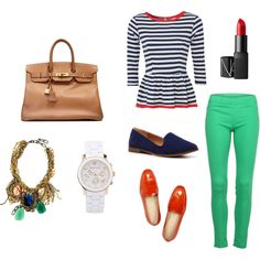 Literally all my favorite things for spring: stripes, peplum, a cognac bag, bright pants and lips, patent loafers, a white watch, and a statement necklace. Not to mention kelly green + navy.