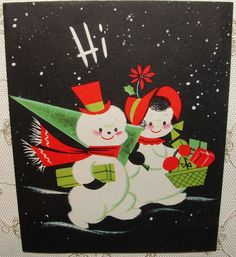 """Cute Snowman Couple Return from Shopping - 50's Vintage Christmas Greeting Card FOR SALE • $5.75 • See Photos! Money Back Guarantee. Vintage 1950's Christmas greeting card Card is in excellent vintage condition - Signed on the inside Approximate size of closed card is 4 1/4"""" by 5 1/4"""" Please enlarge my 381802738317"""