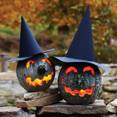 Bumpy, lumpy, and greenish gray, these Hubbard squashes have the perfect complexions for making warty witch jack-o'-lanterns.