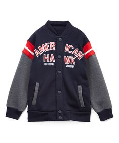 Navy & Gray Varsity Jacket - Boys