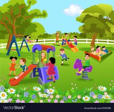 Find Illustration of kids playing in a beautiful nature Stock Images in HD and millions of other royalty-free stock photos, illustrations, and vectors in the Shutterstock collection. Orlando, Garden Design Ideas Videos, Picture Comprehension, Garden Clipart, Alphabet For Toddlers, Garden Diy On A Budget, Picture Composition, Kids Play Area, School Decorations