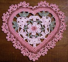 Crocheted Floral Heart by LaceCrochet, via Flickr