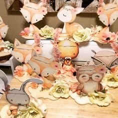 Woodland Baby Shower Decor Centerpieces Nursery Centerpiece Decorations Flowers Floral Pink Girl Baby Showers Welcome Boy Fox Animal Cut Out Baby Elephant Nursery, Baby Nursery Decor, Boho Nursery, Girl Nursery, Baby Shower Centerpieces, Centerpiece Decorations, Woodland Cake, Woodland Animals, Pink Girl