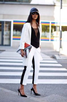 Black and White Sports Luxe Sport Style, Sporty Chic Style, Casual Chic, Tennis Fashion, Sport Fashion, Womens Fashion, Asos Fashion, Fashion Edgy, Fitness Fashion
