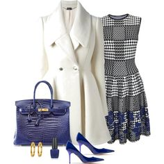 """Happy Sunday With Royal Blue Black And Winter White !!!"" by stylesbypdc on Polyvore"