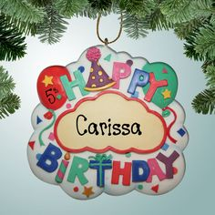 """PersonalizedFree.com - Happy Birthday Personalized Ornament / Magnet, $10.50  -- The perfect solution for the forgotten December birthday: Your very own personalized birthday ornament! Kids will especially enjoy this because it will act as a reminder that they don't want their birthday gift pulled out of the Christmas stash! This magnet ornament can hang on a tree or stick to the fridge.  3"""" tall x 3"""" wide. Made from resin. (http://personalizedfree.com/happy-birthday-ornament-magnet/)"""