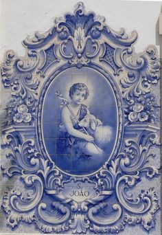 Photo of the interior designs with azulejo ceramic tiles. History of azulejo tiles. Variety of azulejo tiles application. Blue And White China, Love Blue, Holy Art, Art Ancien, Images Vintage, Portuguese Tiles, John The Baptist, White Decor, Delft