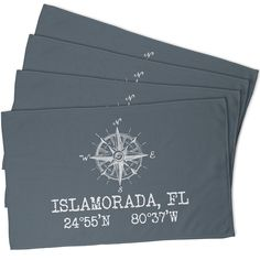 Custom Compass Rose Coordinates Hand Towel - Gray (Set of 4)