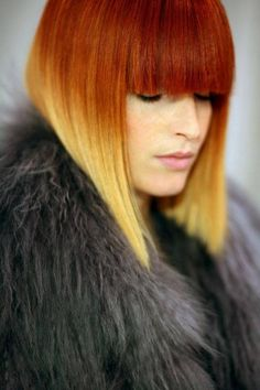 Ombre bob with bangs... this is the closest thing I can find to what I want to do.