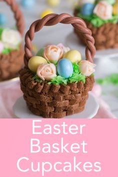Darling and DELICIOUS chocolate cupcakes from Preppy Kitchen shaped like easter baskets filled with pastel buttercream flowers and chocolate eggs nestled in coconut grass. These beautiful cupcakes will delight your guests! Cupcakes Au Cholocat, Tolle Cupcakes, Easter Cupcakes, Easter Cookies, Easter Treats, Cupcake Cakes, Easter Food, Easter Dinner, Cupcake Recipes
