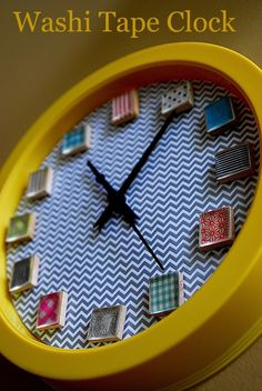 One of my favorite Washi Tape projects I have made so far is this fun and whimsical Washi Tape Clock that I made for my craft room. I used a bunch of different Washi Tapes for each of the clock numbers.