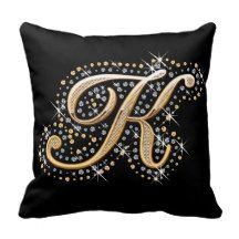 Elegant diamonds monogram K pillow