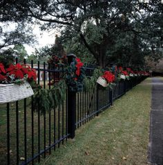 Decorated fence of the Governor's Mansion at Christmas - Tallahassee, Florida State Archives of Florida, Florida Memory, http://floridamemory.com/items/show/94965 #flachristmas